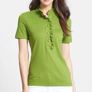 Tory Burch Lidia Ruffle Polo Shirt size L